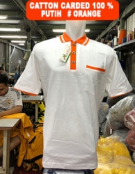 KAOS KERAH COTTON CARDET PUTIH ORANGE