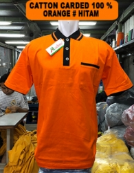 KAOS KERAH COTTON CARDET ORANGE LIST HITAM