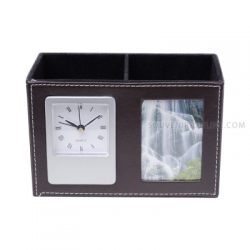 Clock Pen Holder With Photo Frame - Coklat