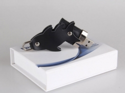 Fish Gift leather usb flash drive with keychain