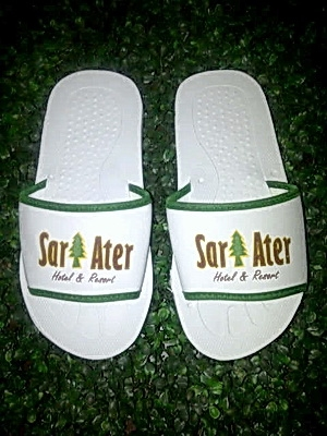 large2 SANDAL ALAS PUTIH LIST HIJAU 100 MM
