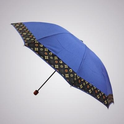 large2 Grosir payung lipat 3 jumbo 10 jari lis LV Rosida biru muda