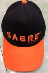 TOPI PROMOSI RHAPEL HITAM KOMBINASI ORANGE LOGO BORDRI